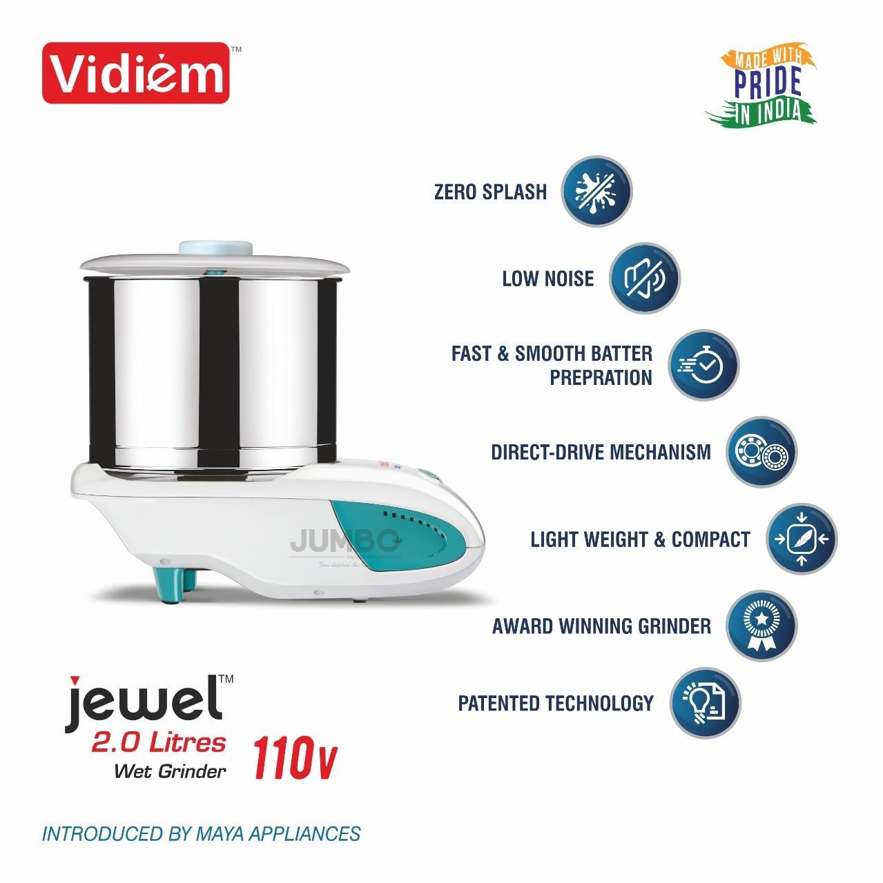 vidiem-jewel-st-2-liter-wet-grinder-stainless-steel-drum-stone-rollers-110-volt